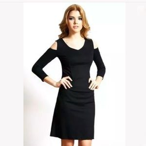 Nue by Shani Black Cold Shoulder Shape-wear Dress